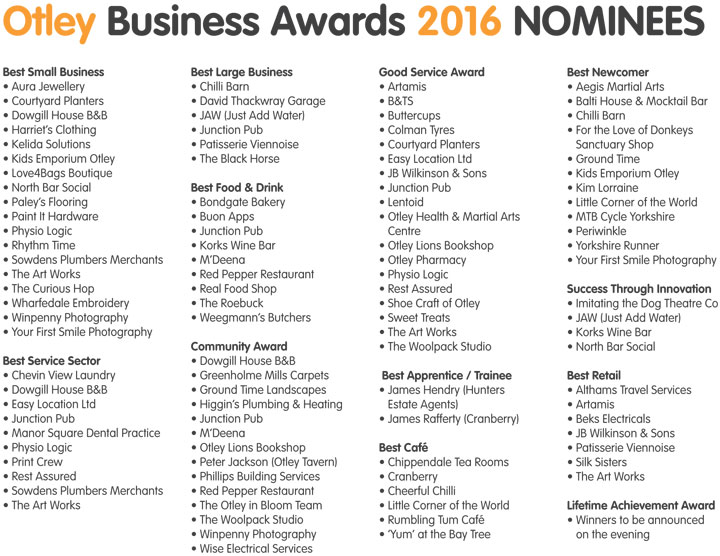 Otley Business Award 2016 Nominees